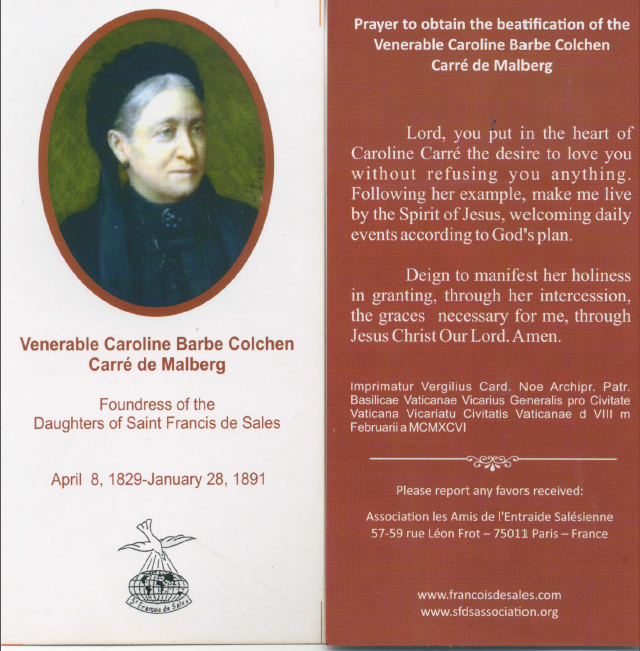 Prayer for the Beatification of Mmd Carre de Malberg
